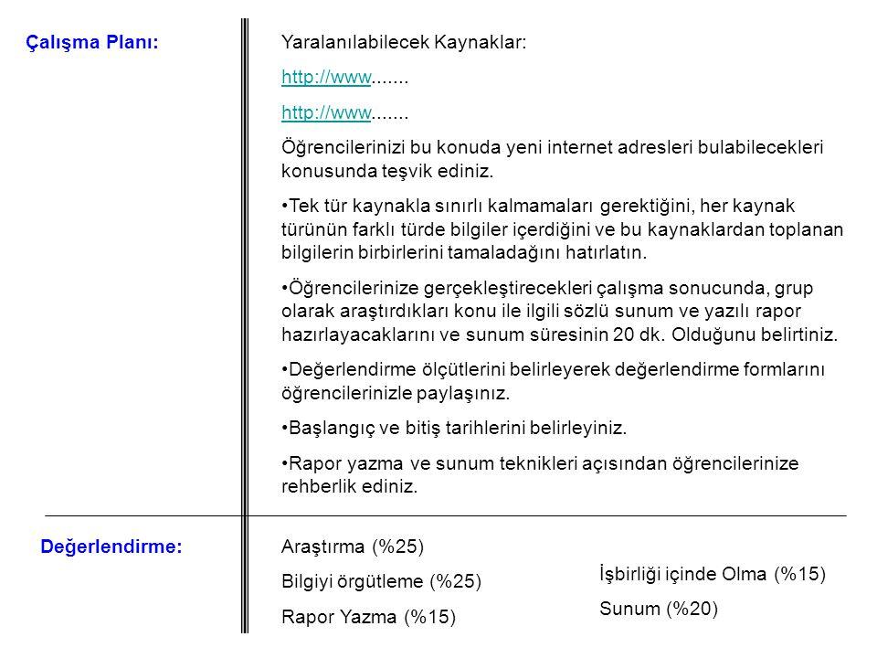 Çalışma Planı:Yaralanılabilecek Kaynaklar: http://wwwhttp://www....... http://wwwhttp://www....... Öğrencilerinizi bu konuda yeni internet adresleri b