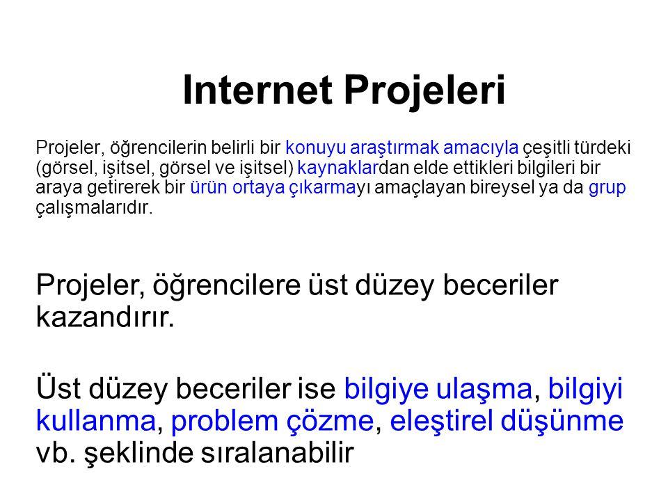 Internet Projeleri Projeler, öğrencilerin belirli bir konuyu araştırmak amacıyla çeşitli türdeki (görsel, işitsel, görsel ve işitsel) kaynaklardan eld
