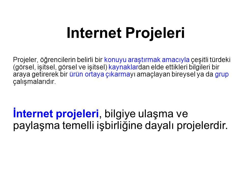Internet Projeleri WEB Tabanlı Projeler E-Posta Projeleri Öğrencilere herhangi bir konuyu araştırmak amacıyla web üzerinden yararlanarak elde ettikleri bir araya getirip bir ürün çıkarmayı amaçlar.