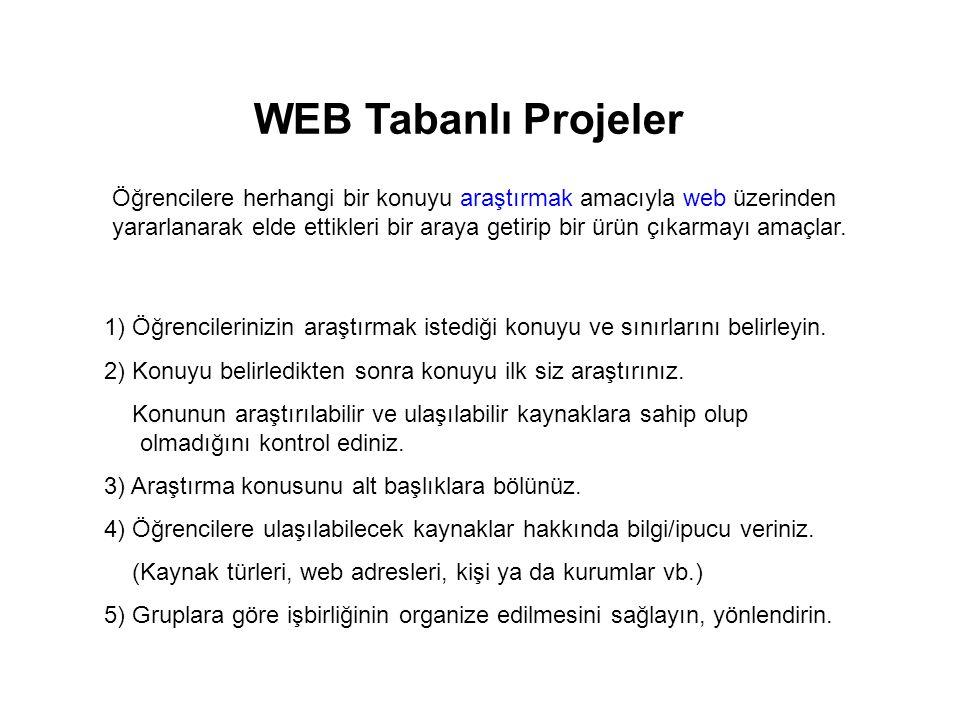 WEB Tabanlı Projeler Öğrencilere herhangi bir konuyu araştırmak amacıyla web üzerinden yararlanarak elde ettikleri bir araya getirip bir ürün çıkarmay