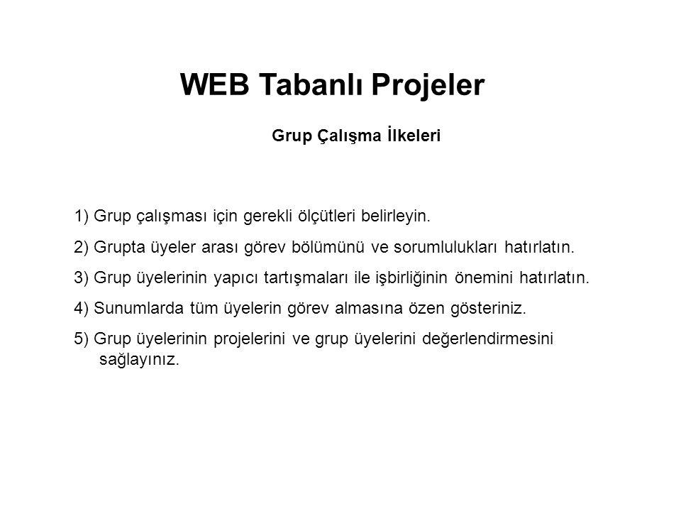 WEB Tabanlı Projeler Grup Çalışma İlkeleri 1) Grup çalışması için gerekli ölçütleri belirleyin. 2) Grupta üyeler arası görev bölümünü ve sorumluluklar