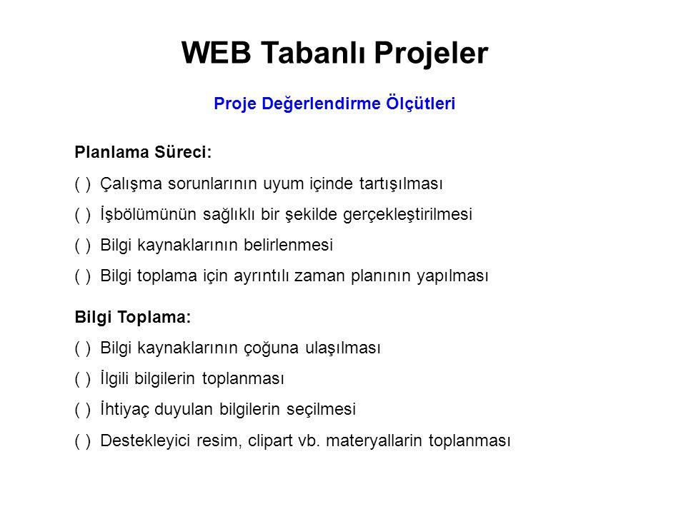 WEB Tabanlı Projeler Proje Değerlendirme Ölçütleri Bilgiyi Organize Etme: ( )Bilgilerin sorulara cevap olacak şekilde nasıl düzenleneceğinin tasarlanması ( )Bilgiler ve destekleyici materyaller tasarıya uygun olarak bir araya getirilmesi ( )Bilgilerin kendi ifadelerimiz ile yeniden yazılması ( )Çalışmanın anlaşılır olması için diğer grupların görüşlerine sunulması Yazılı Rapor: ( )Raporda yazım ve imla hatalarının kontrol edilmesi ( )Yazılı ve görsel unsurlar arasında bütünlük sağlanması ( )Geçiş bölümleri arasında bağlantılar kurulması ( )Kaynakça hazırlanması