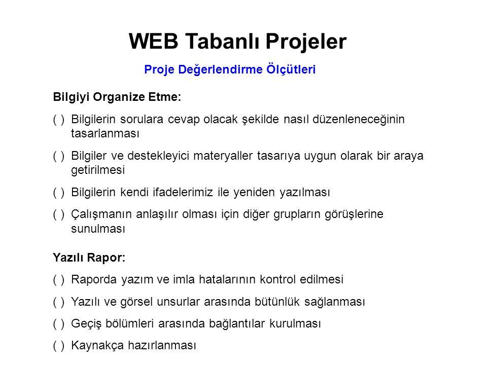 WEB Tabanlı Projeler Proje Değerlendirme Ölçütleri Sunu-Poster: ( )Sunu için rapordan özet çıkartılması ( )Özetin raporu tam olarak yansıtması ( )Sununun sözel açıklamalar ile desteklenmesi ( )Sunu zamanının etkili kullanılması