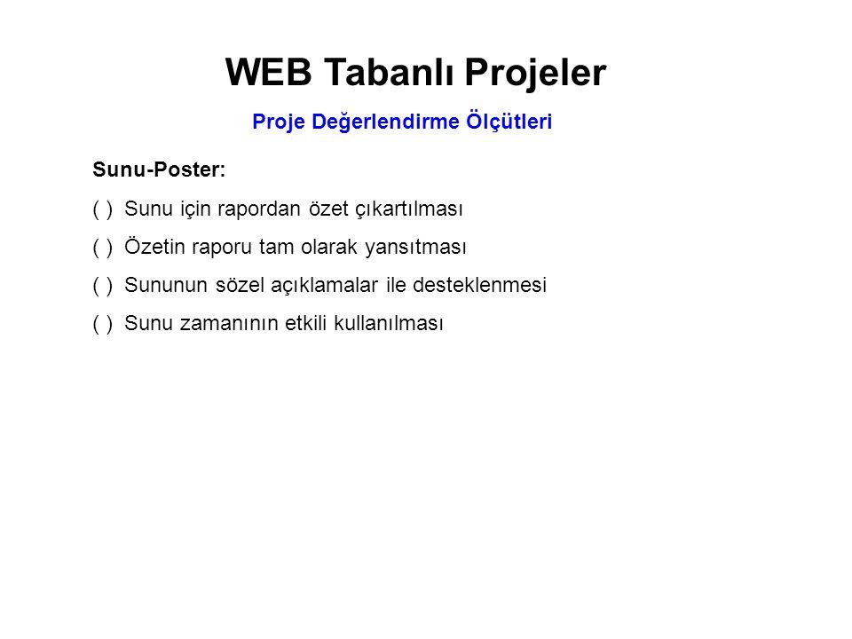 WEB Tabanlı Projeler Proje Değerlendirme Ölçütleri Sunu-Poster: ( )Sunu için rapordan özet çıkartılması ( )Özetin raporu tam olarak yansıtması ( )Sunu