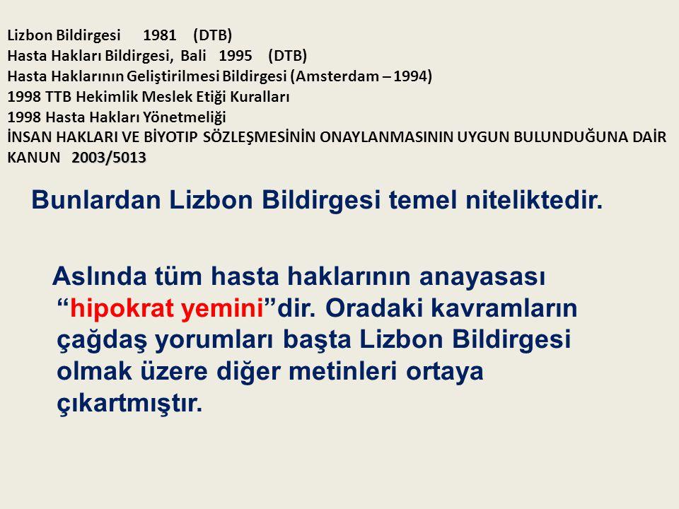 2003/5013 Lizbon Bildirgesi1981 (DTB) Hasta Hakları Bildirgesi, Bali 1995 (DTB) Hasta Haklarının Geliştirilmesi Bildirgesi (Amsterdam – 1994) 1998 TTB