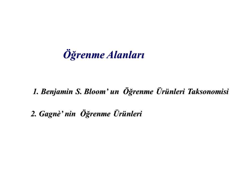 Öğrenme Alanları 1.Benjamin S. Bloom' un Öğrenme Ürünleri Taksonomisi 2.