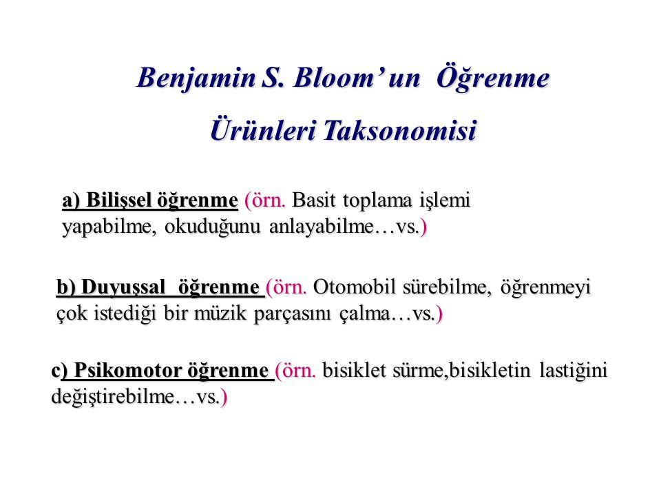 Benjamin S.Bloom' un Öğrenme Benjamin S.