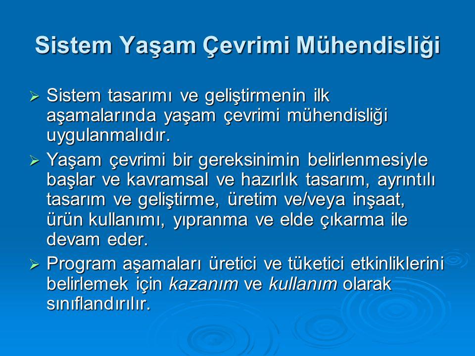 Sistem Yaşam Çevrimi Mühendisliği  Sistem tasarımı ve geliştirmenin ilk aşamalarında yaşam çevrimi mühendisliği uygulanmalıdır.  Yaşam çevrimi bir g