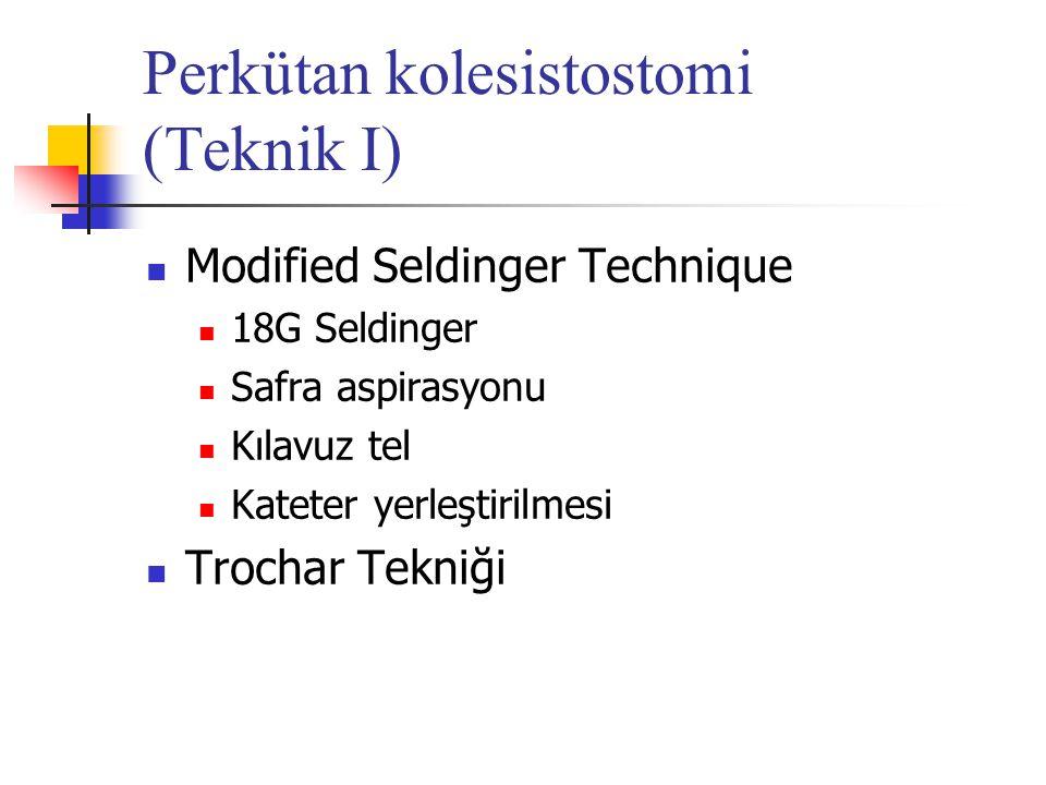 Perkütan kolesistostomi (Teknik I) Modified Seldinger Technique 18G Seldinger Safra aspirasyonu Kılavuz tel Kateter yerleştirilmesi Trochar Tekniği