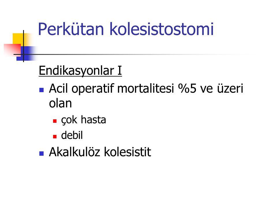 Perkütan kolesistostomi Endikasyonlar II Taşlı kolesistit PK temporizasyon sağlar Elektif cerrahi öncesi Kolesistektomi Mortalite oranı %1'in altındadır %14-30/yüksek riskli hastalarda 30-gün mortalite Perkütan Kolesistostomi ve Cerrahi Kolesistostomi aynıdır.