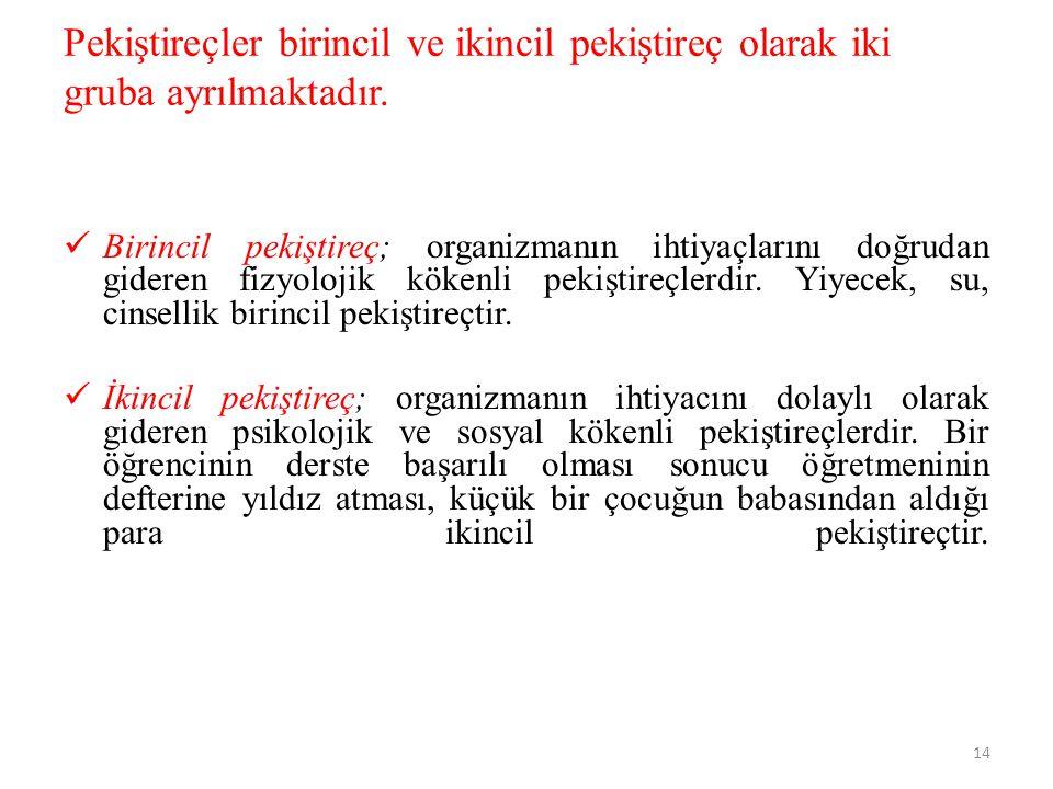 Pekiştireçler birincil ve ikincil pekiştireç olarak iki gruba ayrılmaktadır.