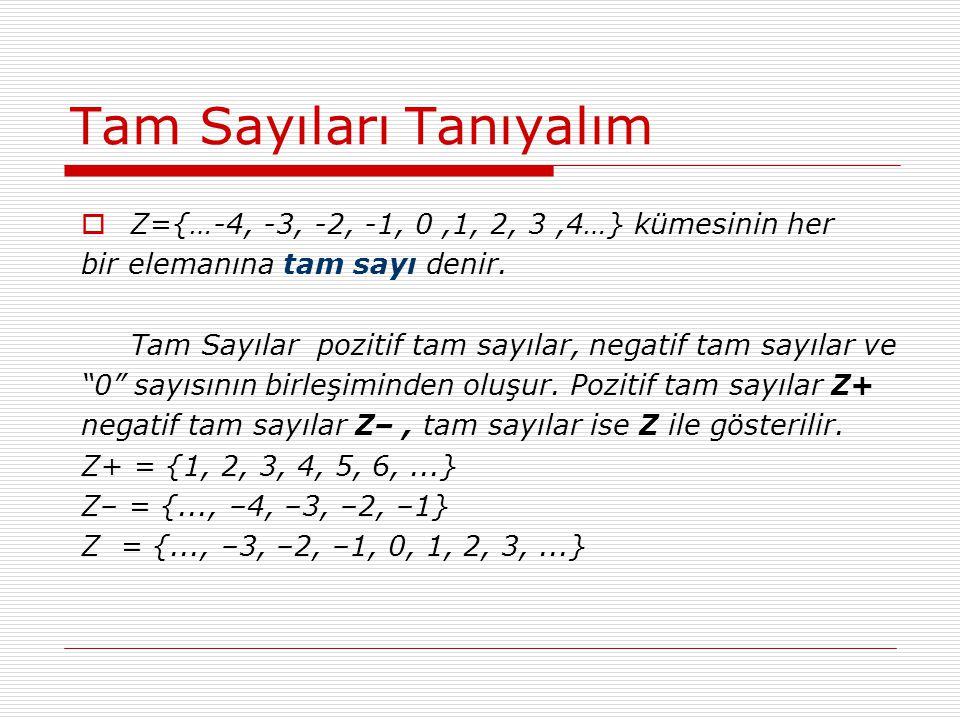 Tam Sayıları Tanıyalım  Z={…-4, -3, -2, -1, 0,1, 2, 3,4…} kümesinin her bir elemanına tam sayı denir. Tam Sayılar pozitif tam sayılar, negatif tam sa