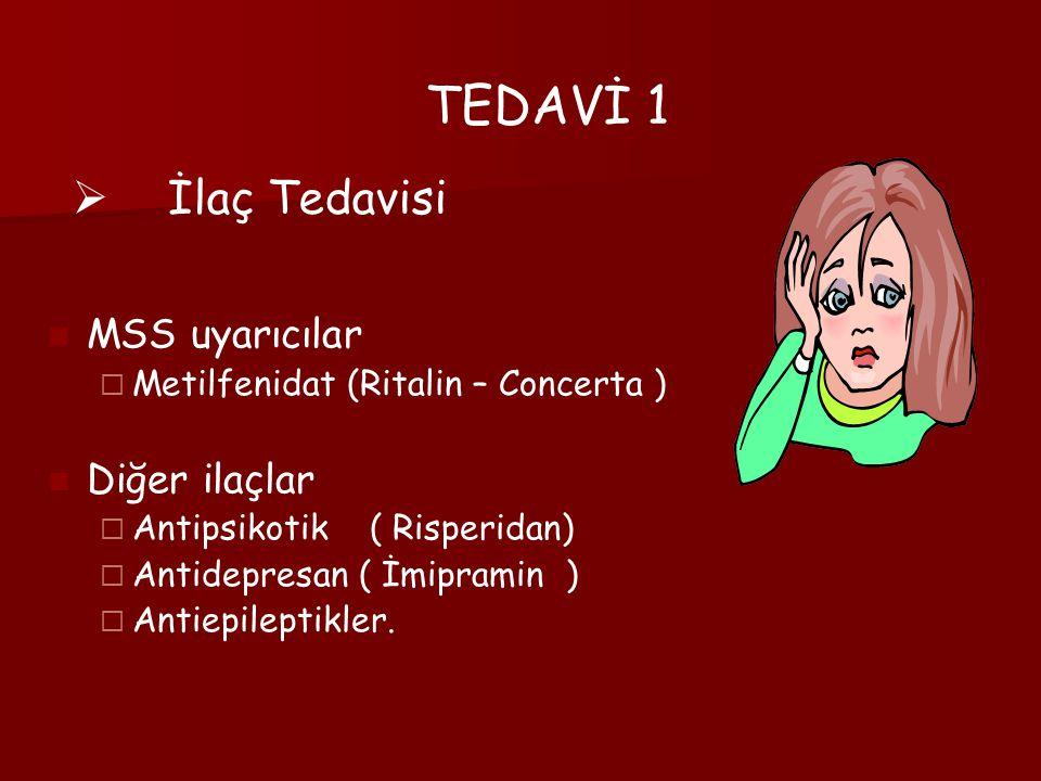TEDAVİ 1 MSS uyarıcılar  Metilfenidat (Ritalin – Concerta ) Diğer ilaçlar  Antipsikotik ( Risperidan)  Antidepresan ( İmipramin )  Antiepileptikle