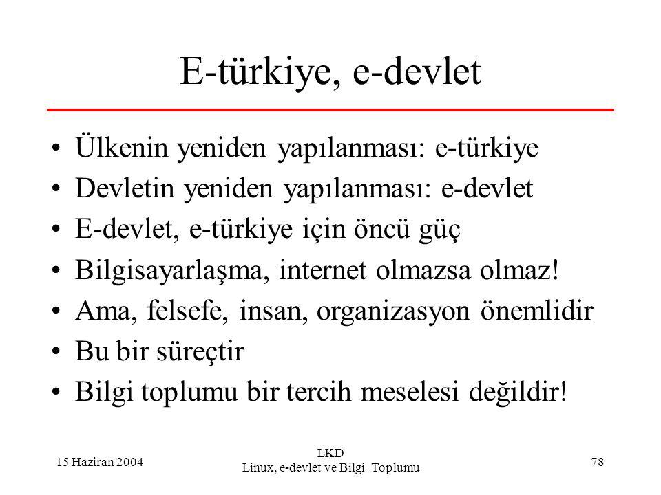 15 Haziran 2004 LKD Linux, e-devlet ve Bilgi Toplumu 78 E-türkiye, e-devlet Ülkenin yeniden yapılanması: e-türkiye Devletin yeniden yapılanması: e-devlet E-devlet, e-türkiye için öncü güç Bilgisayarlaşma, internet olmazsa olmaz.