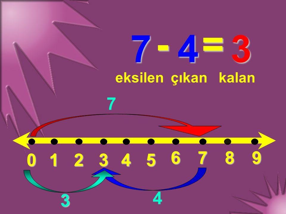 012345 6789 7 - 4 = eksilençıkankalan 7 4 3 3