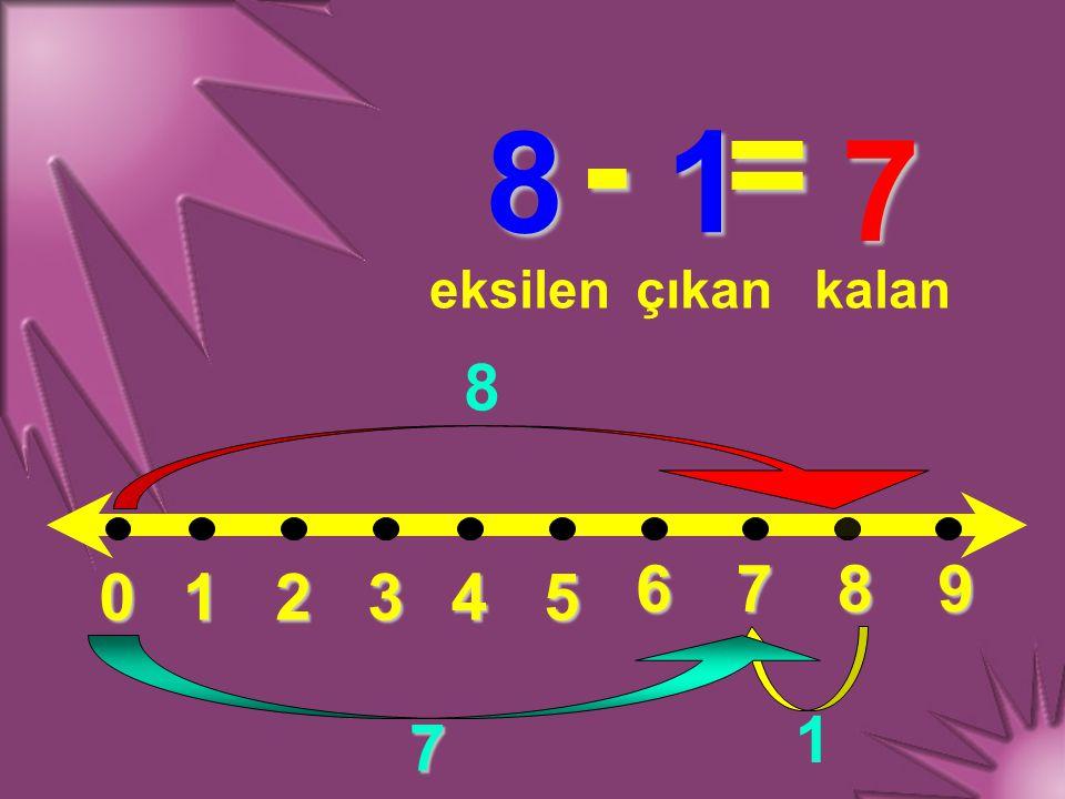 012345 6789 8 - 1 = eksilençıkankalan 8 1 7 7