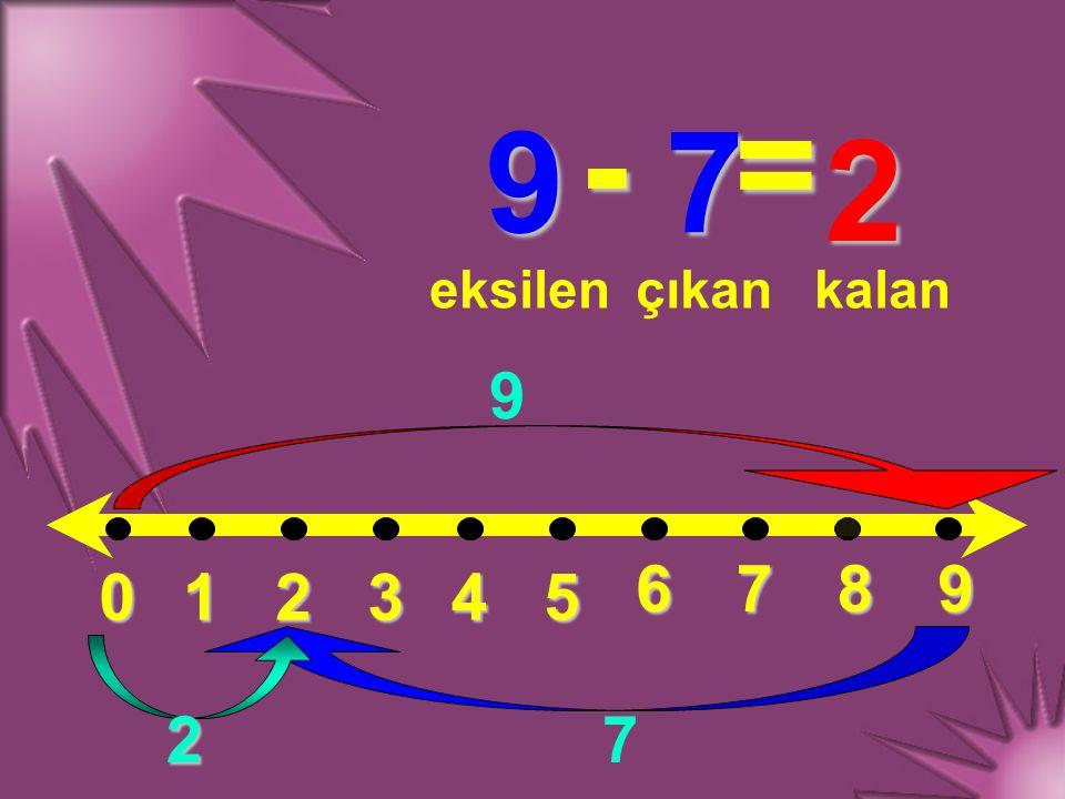 012345 6789 9 - 7 = eksilençıkankalan 9 7 2 2