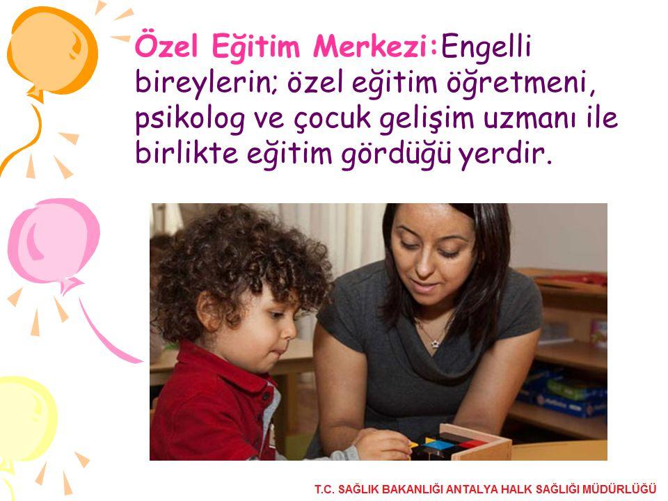 Özel Eğitim Merkezi:Engelli bireylerin; özel eğitim öğretmeni, psikolog ve çocuk gelişim uzmanı ile birlikte eğitim gördüğü yerdir.