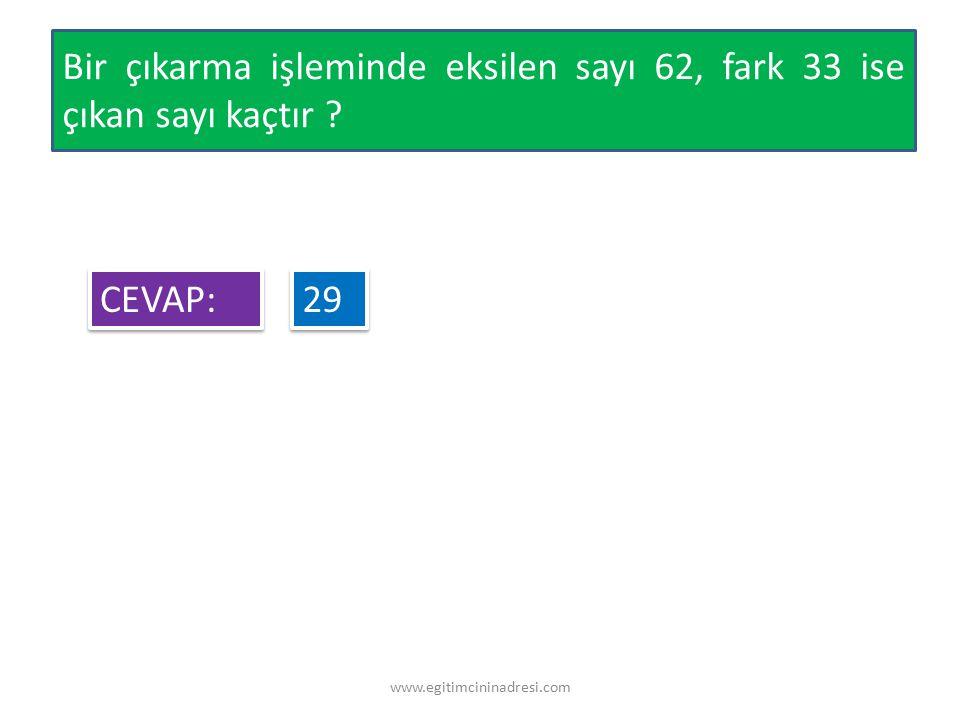 Bir çıkarma işleminde eksilen sayı 62, fark 33 ise çıkan sayı kaçtır ? CEVAP: CEVAP: 29 29 www.egitimcininadresi.com