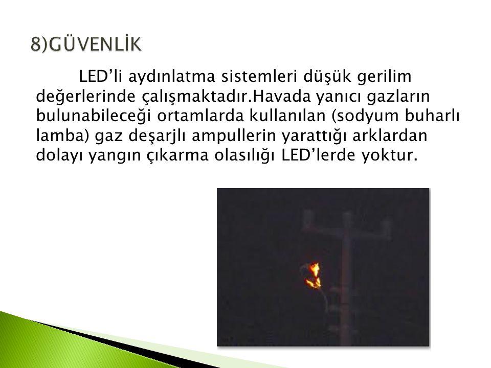 LED'li aydınlatma sistemleri düşük gerilim değerlerinde çalışmaktadır.Havada yanıcı gazların bulunabileceği ortamlarda kullanılan (sodyum buharlı lamba) gaz deşarjlı ampullerin yarattığı arklardan dolayı yangın çıkarma olasılığı LED'lerde yoktur.