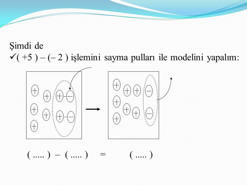 Şimdi de ( +5 ) – (– 2 ) işlemini sayma pulları ile modelini yapalım: