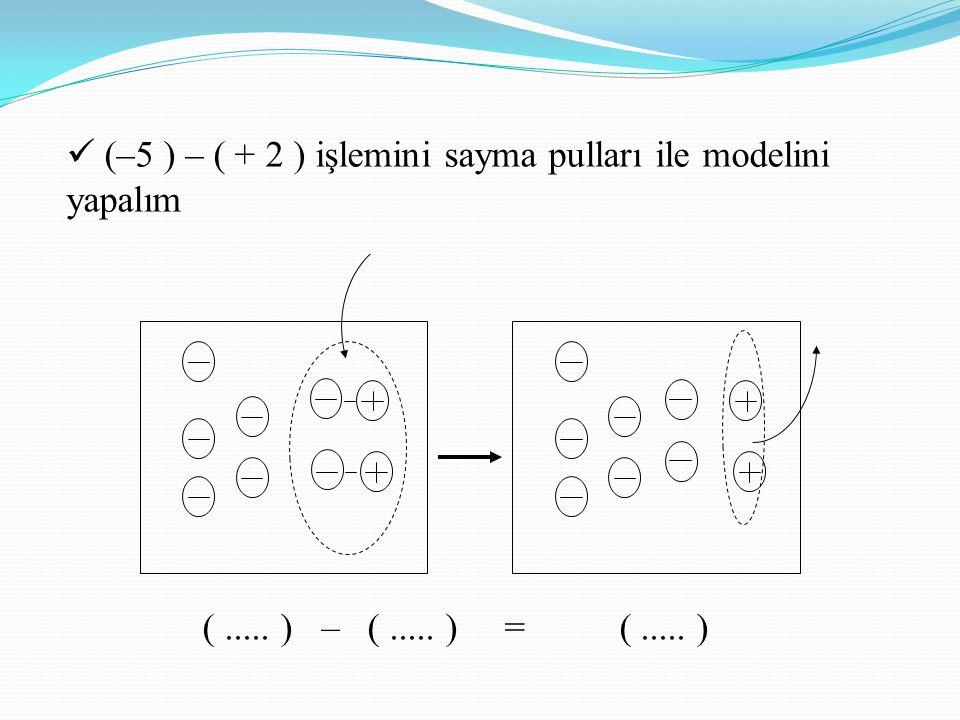 (..... ) – (..... ) = (..... ) (–5 ) – ( + 2 ) işlemini sayma pulları ile modelini yapalım