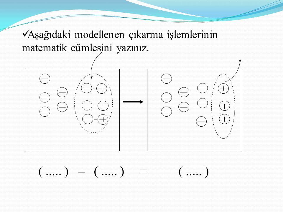 (..... ) – (..... ) = (..... ) Aşağıdaki modellenen çıkarma işlemlerinin matematik cümlesini yazınız.