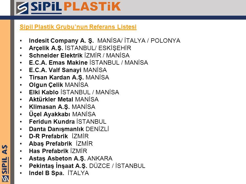 Sipil Plastik Grubu'nun Referans Listesi Indesit Company A. Ş. MANİSA/ İTALYA / POLONYA Arçelik A.Ş. İSTANBUL/ ESKİŞEHİR Schneider Elektrik İZMİR / MA