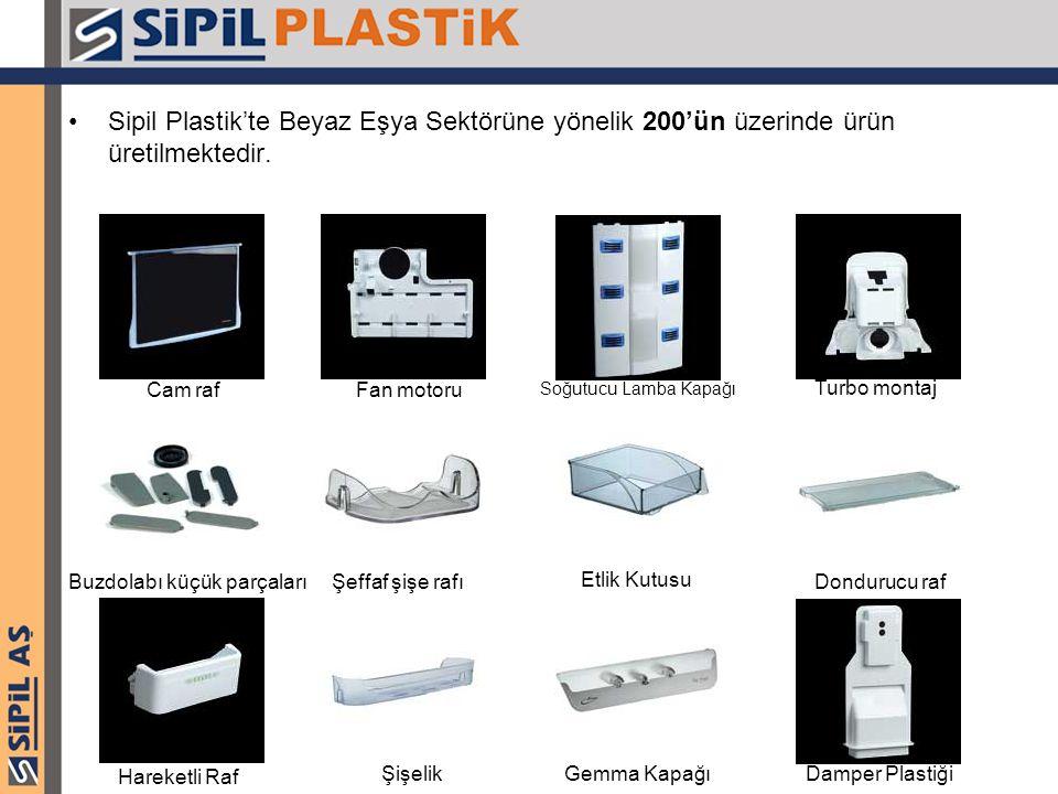 Sipil Plastik'te Beyaz Eşya Sektörüne yönelik 200'ün üzerinde ürün üretilmektedir. Cam raf Buzdolabı küçük parçalarıDondurucu raf Fan motoru Şeffaf şi