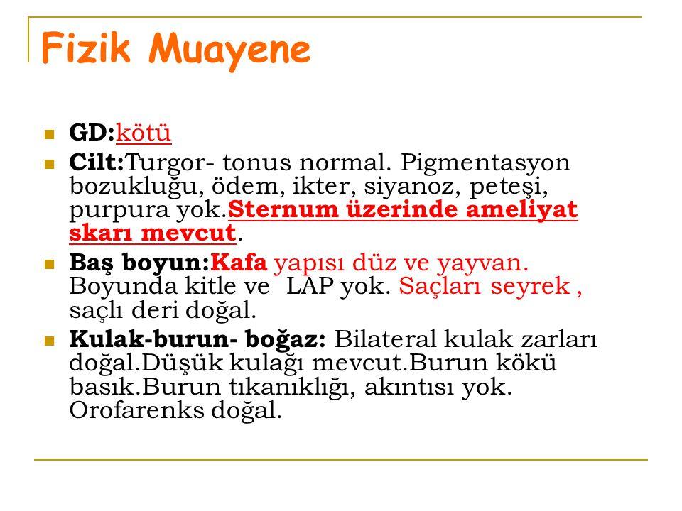 Fizik Muayene GD: kötü Cilt: Turgor- tonus normal. Pigmentasyon bozukluğu, ödem, ikter, siyanoz, peteşi, purpura yok. Sternum üzerinde ameliyat skarı