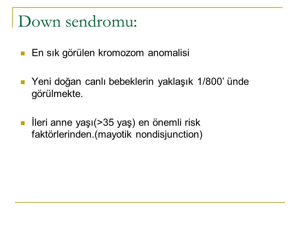 Down sendromu: En sık görülen kromozom anomalisi Yeni doğan canlı bebeklerin yaklaşık 1/800' ünde görülmekte. İleri anne yaşı(>35 yaş) en önemli risk