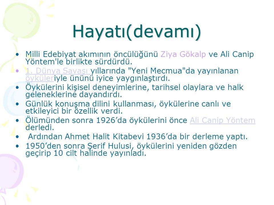 Eserleri Ömer Seyfettin'in Şiirleri (1972)  (Şiir)  Ashâb-ı Kehfimiz (1918) Efruz Bey (1919) Yalnız Efe (1919, 1988) (Roman)  Harem (1918) Yüksek Ökçeler (1922, 1988) Gizli Mabed (1923, 1988)