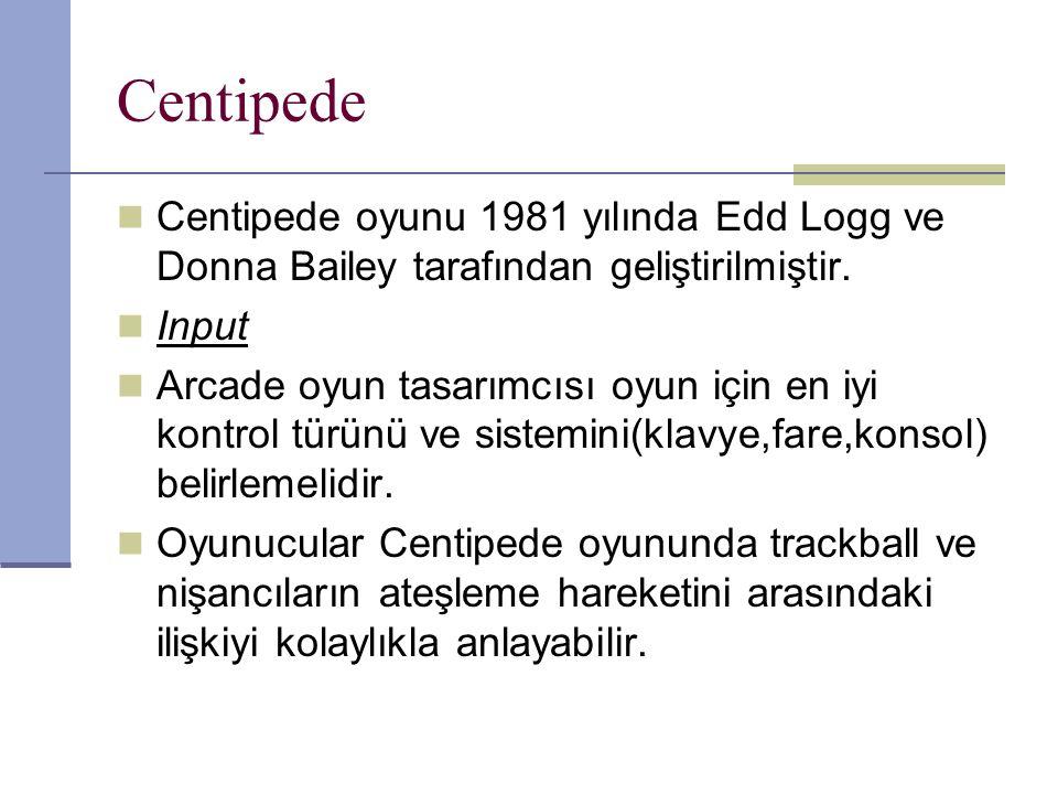 Centipede Centipede oyunu 1981 yılında Edd Logg ve Donna Bailey tarafından geliştirilmiştir.