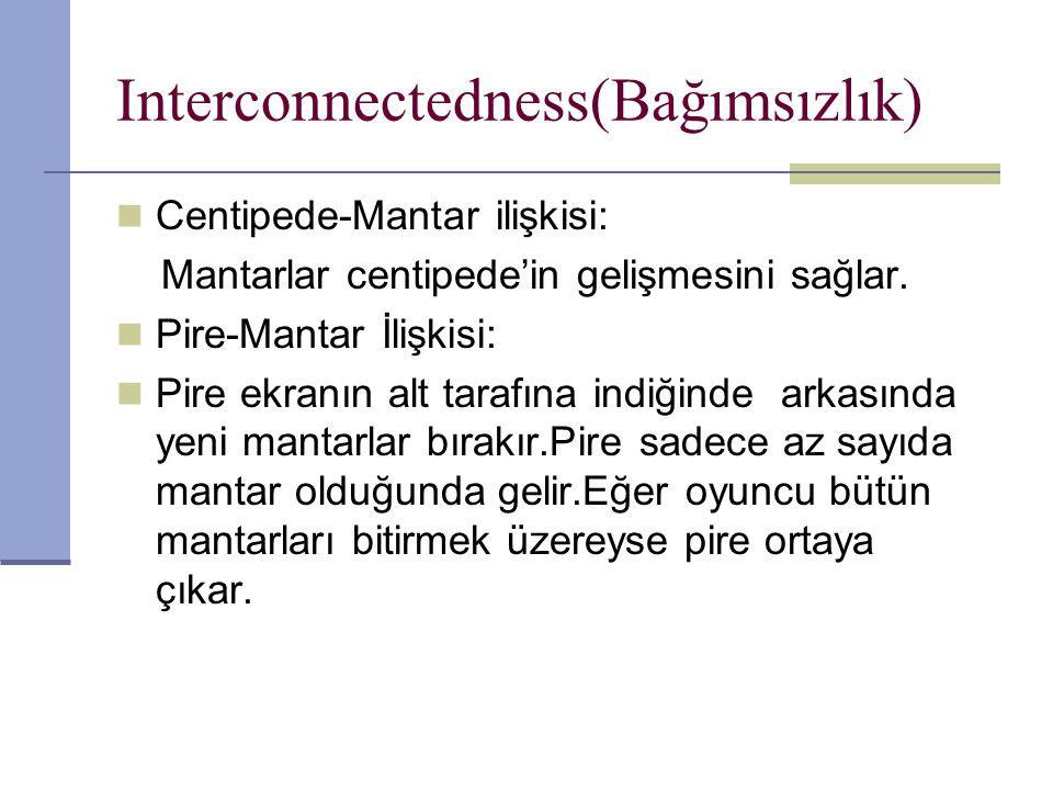 Interconnectedness(Bağımsızlık) Centipede-Mantar ilişkisi: Mantarlar centipede'in gelişmesini sağlar.
