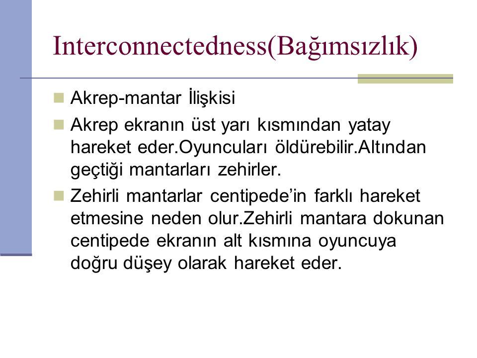 Interconnectedness(Bağımsızlık) Akrep-mantar İlişkisi Akrep ekranın üst yarı kısmından yatay hareket eder.Oyuncuları öldürebilir.Altından geçtiği mantarları zehirler.