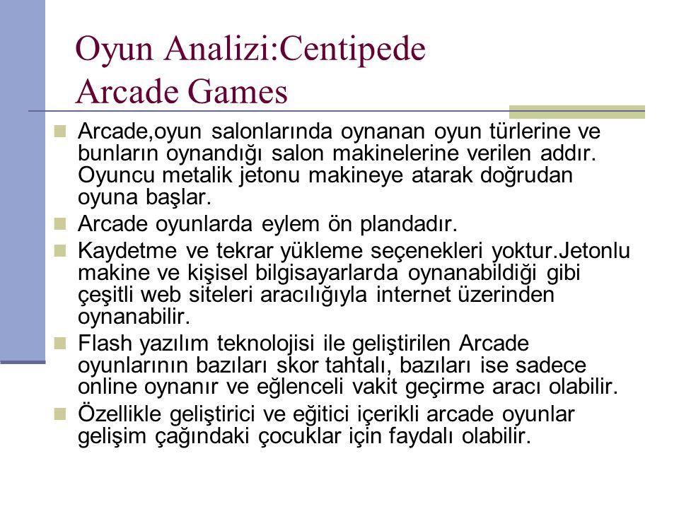 Oyun Analizi:Centipede Arcade Games Arcade,oyun salonlarında oynanan oyun türlerine ve bunların oynandığı salon makinelerine verilen addır.