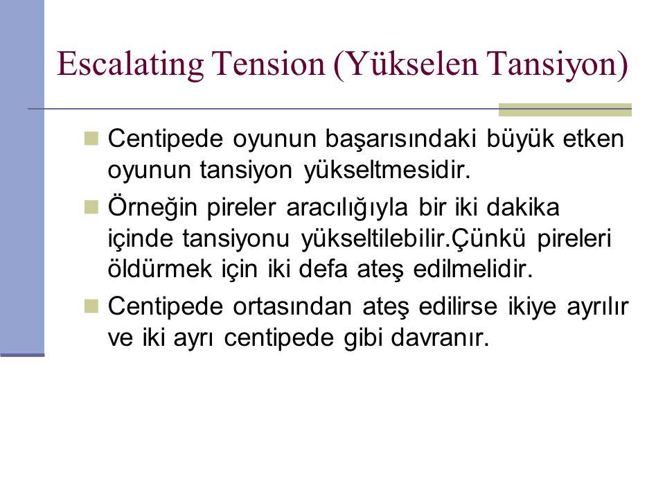 Escalating Tension (Yükselen Tansiyon) Centipede oyunun başarısındaki büyük etken oyunun tansiyon yükseltmesidir.