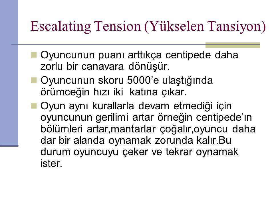 Escalating Tension (Yükselen Tansiyon) Oyuncunun puanı arttıkça centipede daha zorlu bir canavara dönüşür.