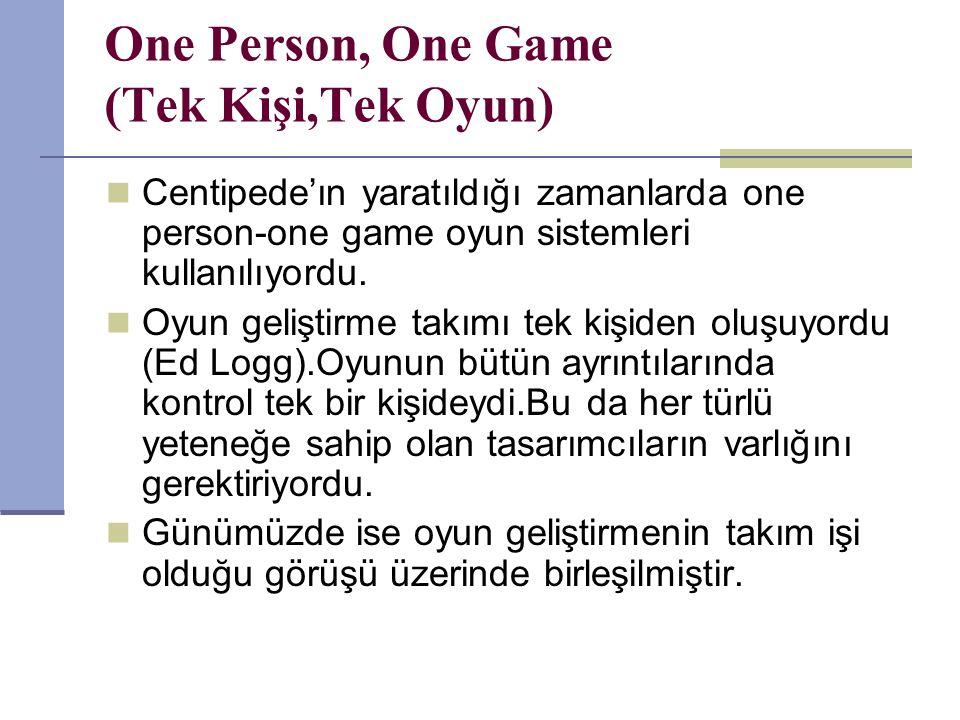 One Person, One Game (Tek Kişi,Tek Oyun) Centipede'ın yaratıldığı zamanlarda one person-one game oyun sistemleri kullanılıyordu.
