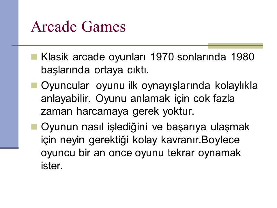 Arcade Games Klasik arcade oyunları 1970 sonlarında 1980 başlarında ortaya cıktı.