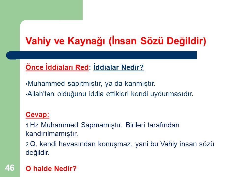 46 Vahiy ve Kaynağı (İnsan Sözü Değildir) Önce İddiaları Red: İddialar Nedir? Muhammed sapıtmıştır, ya da kanmıştır. Allah'tan olduğunu iddia ettikler