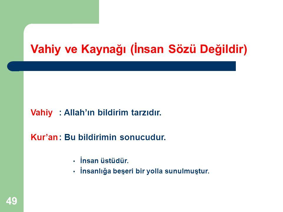 49 Vahiy ve Kaynağı (İnsan Sözü Değildir) Vahiy: Allah'ın bildirim tarzıdır. Kur'an: Bu bildirimin sonucudur. İnsan üstüdür. İnsanlığa beşeri bir yoll