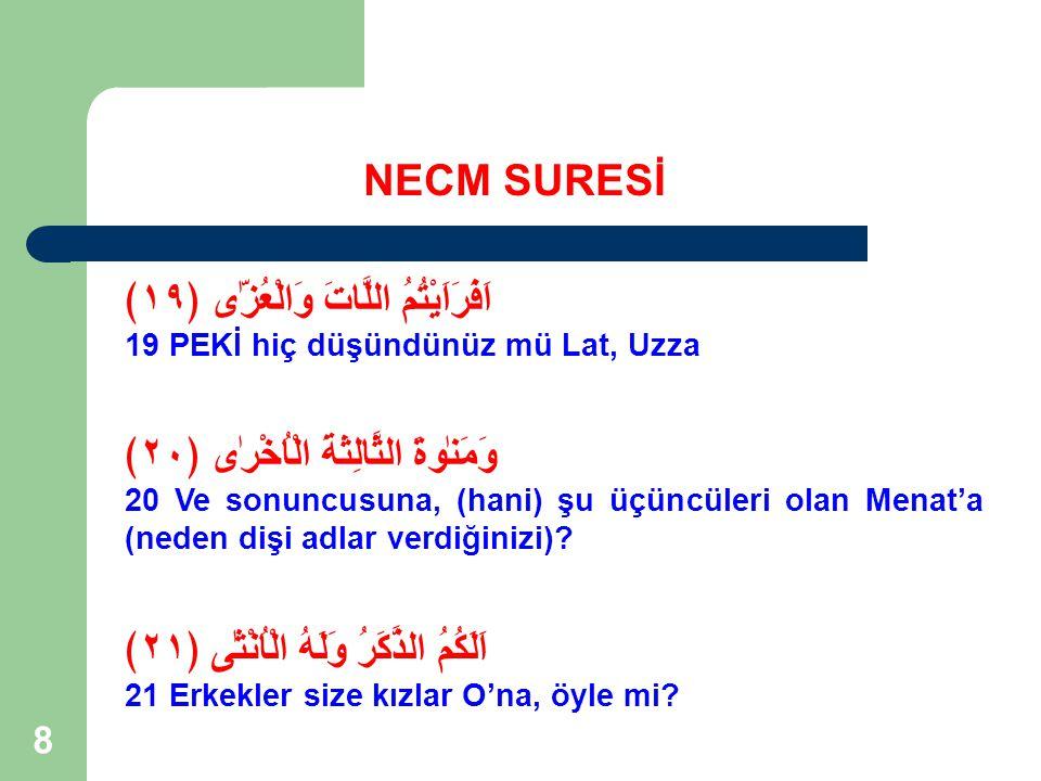 39 NECM SURESİ Hz Peygamber'in Mekkelilere vahiyle meydan okuduğu ilk suredir.