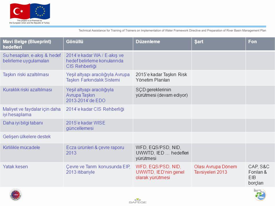 Mavi Belge (Blueprint) hedefleri GönüllüDüzenlemeŞartFon Su hesapları, e-akış & hedef belirleme uygulamaları 2014'e kadar WA / E-akış ve hedef belirle