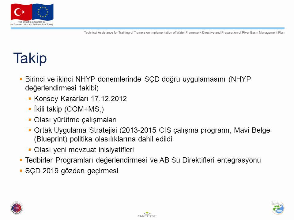 Takip  Birinci ve ikinci NHYP dönemlerinde SÇD doğru uygulamasını (NHYP değerlendirmesi takibi)  Konsey Kararları 17.12.2012  İkili takip (COM+MS,)