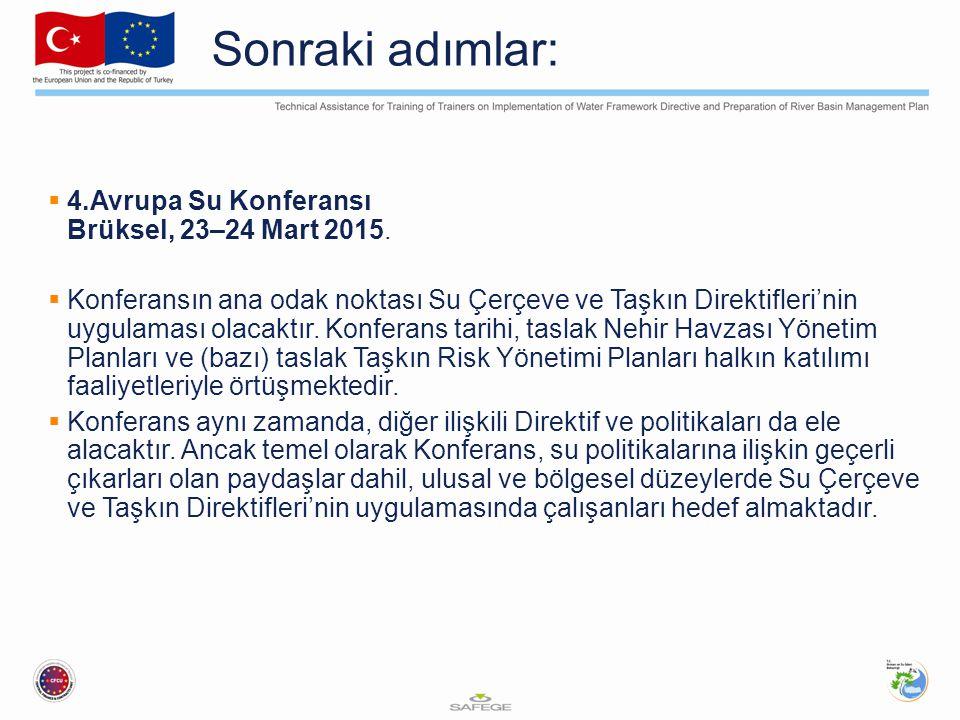Sonraki adımlar:  4.Avrupa Su Konferansı Brüksel, 23–24 Mart 2015.  Konferansın ana odak noktası Su Çerçeve ve Taşkın Direktifleri'nin uygulaması ol