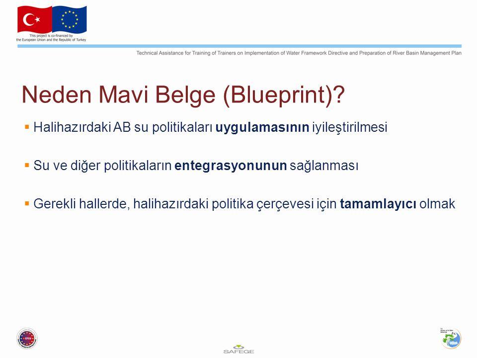 Neden Mavi Belge (Blueprint)?  Halihazırdaki AB su politikaları uygulamasının iyileştirilmesi  Su ve diğer politikaların entegrasyonunun sağlanması