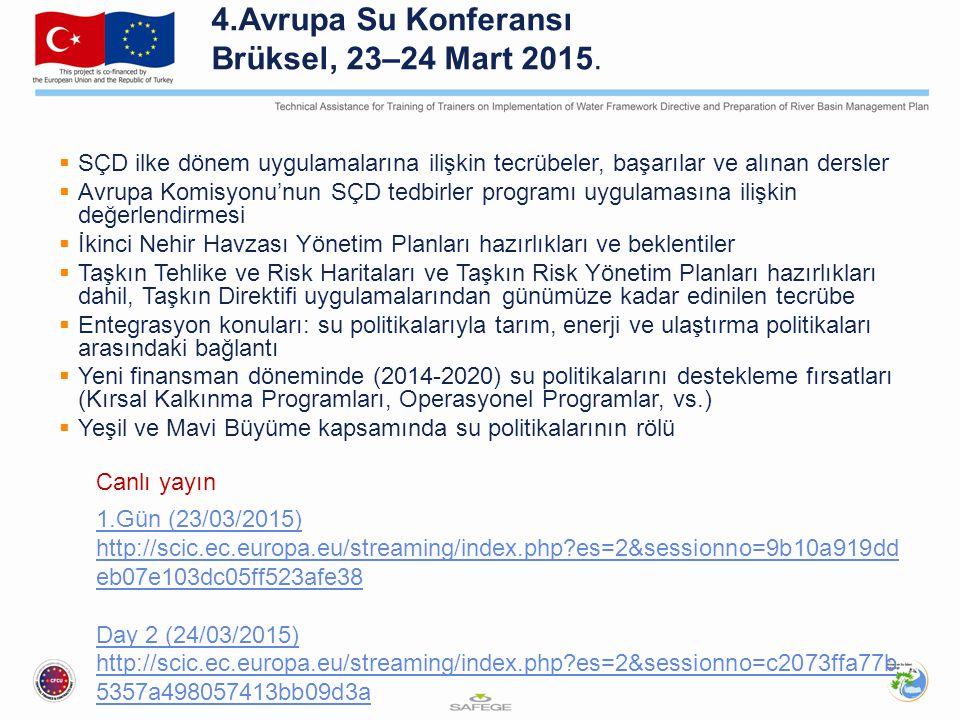 4.Avrupa Su Konferansı Brüksel, 23–24 Mart 2015.  SÇD ilke dönem uygulamalarına ilişkin tecrübeler, başarılar ve alınan dersler  Avrupa Komisyonu'nu