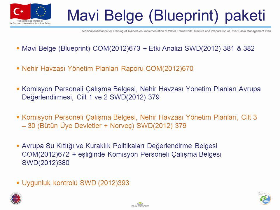  Mavi Belge (Blueprint) COM(2012)673 + Etki Analizi SWD(2012) 381 & 382  Nehir Havzası Yönetim Planları Raporu COM(2012)670  Komisyon Personeli Çal