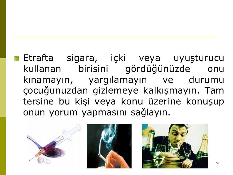72 Etrafta sigara, içki veya uyuşturucu kullanan birisini gördüğünüzde onu kınamayın, yargılamayın ve durumu çocuğunuzdan gizlemeye kalkışmayın. Tam t